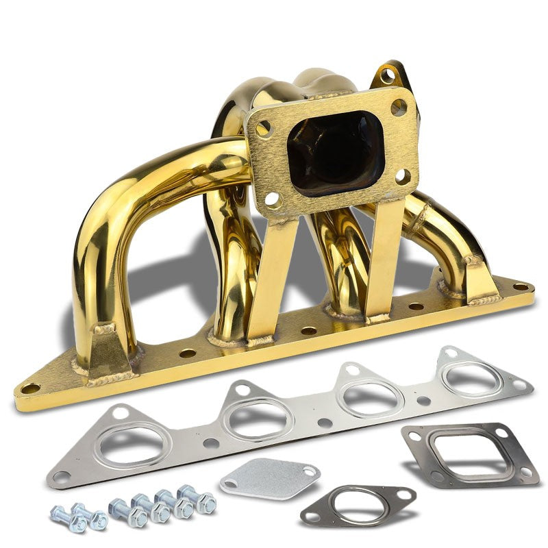 Bottom-Mount SS Gold T3 Flange Turbo Manifold+WG Port For 92-96 Prelude Si BB2-Performance-BuildFastCar