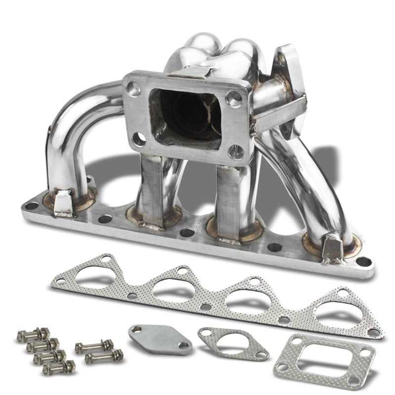 Bottom-Mount SS Chrome T3 Turbo Manifold+WG Port For Prelude Base/Type SH DOHC-Performance-BuildFastCar