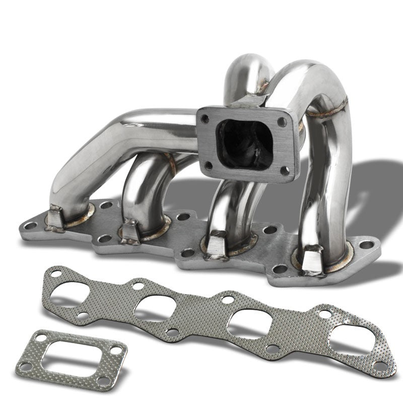 Race SS Chrome T25/T28 Flange Turbo Manifold For 93-01 Altima 2.4L DOHC l4-Performance-BuildFastCar