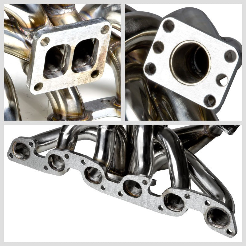 Top-Mount SS Chrome T4/T04 Turbo Manifold For Skyline GT-R BNR32/BCNR33/BNR34-Performance-BuildFastCar