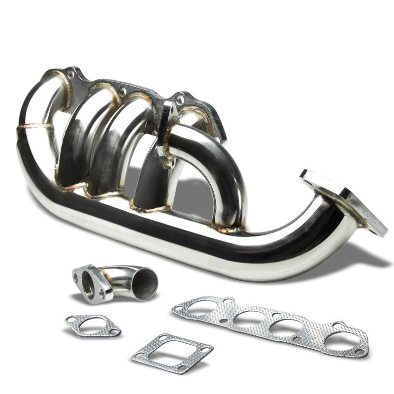 Low-Mount SS Chrome T3 Flange Turbo Manifold+WG Port For 99-09 S2000 AP1 AP2-Performance-BuildFastCar
