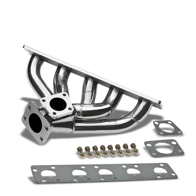 Race SS Chrome K26 Flange Turbo Manifold+WG Port For 95-97 S6 2.2L DOHC 5CYL-Performance-BuildFastCar