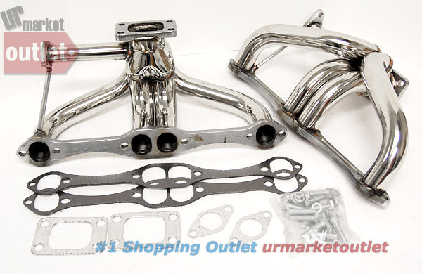 Manzo Stainless Steel Exhaust Header Manifold For 5.0L/5.7L V8 SBC Twin Turbo-Performance-BuildFastCar