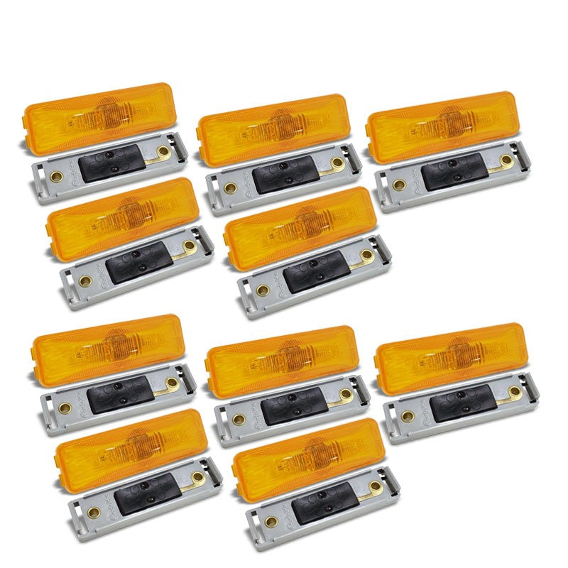10x TruckLite 19200Y 19-Series Yellow Side Marker Clearance Light+Mount Bracket-Trailer Light Parts-BuildFastCar-BFC-TTP-MCL-SMLC-19200Y-X10