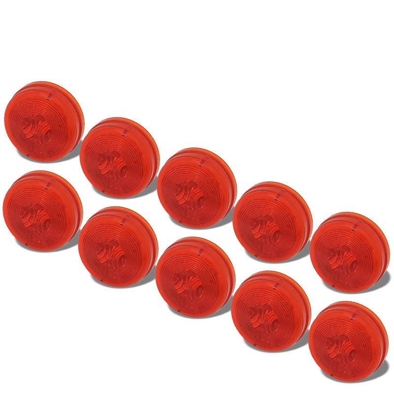10x Truck-Lite 30200R 30 Series PL-10 PC Round Red Marker Clearance Light Lamp-Trailer Light Parts-BuildFastCar-BFC-TTP-MCL-TRU-30200R-X10