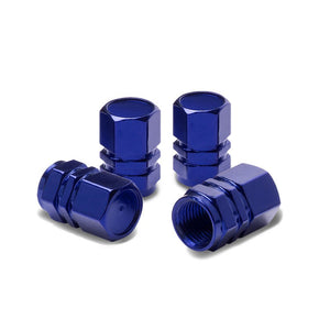 Blue Aluminum Metal Tire/Rim Valve Air Port Dust Cover Stems Cap/Caps RT059 Set-Accessories-BuildFastCar