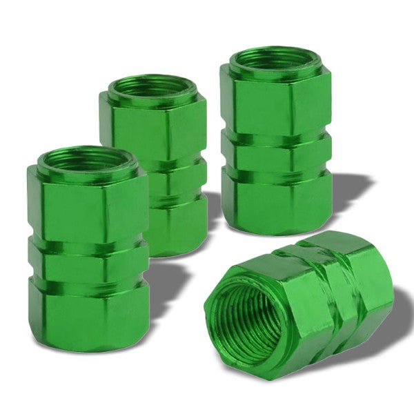 4X Green Aluminum 17mm Hexagon Tire Rim Valve Wheel Air Port Dust Cover Caps-Accessories-BuildFastCar