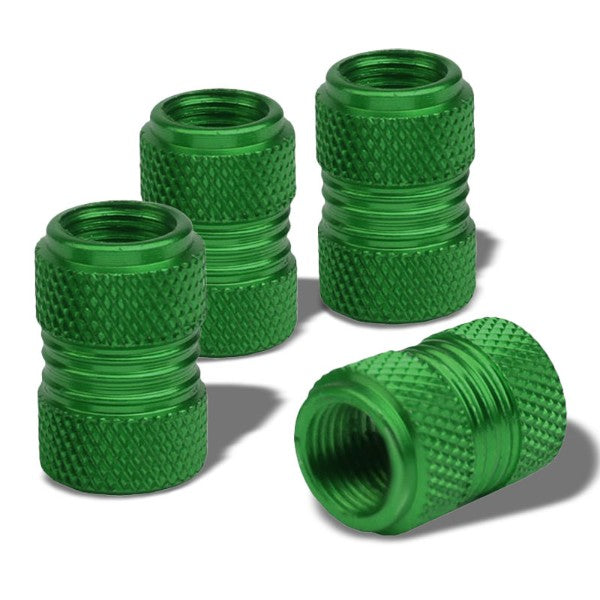 4X Green Aluminum 17mm Knurled Tire Rim Valve Wheel Air Port Dust Cover Caps-Accessories-BuildFastCar