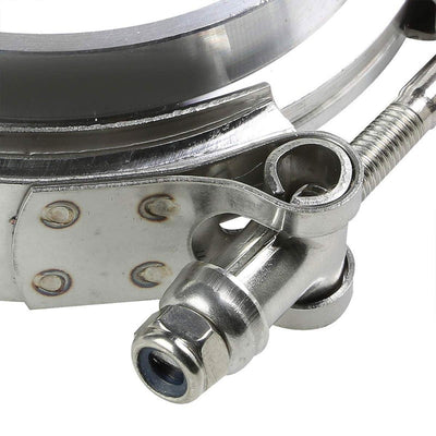 "2.50"" 63mm Zinc Coat V-Band Clamp+Aluminum Flange for Turbo Downpipe Intercooler-Performance-BuildFastCar"