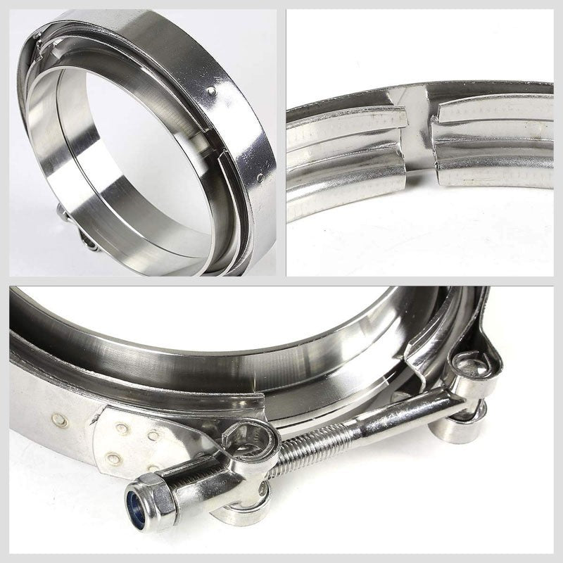 "2.50"" 63mm Zinc Coat V-Band Clamp+Flange for Turbo Downpipe Intercooler Exhaust-Performance-BuildFastCar"