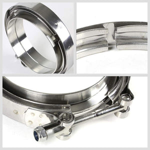"4.00"" 102mm Zinc Coat V-Band Clamp+Flange for Turbo Downpipe Intercooler Exhaust-Performance-BuildFastCar"