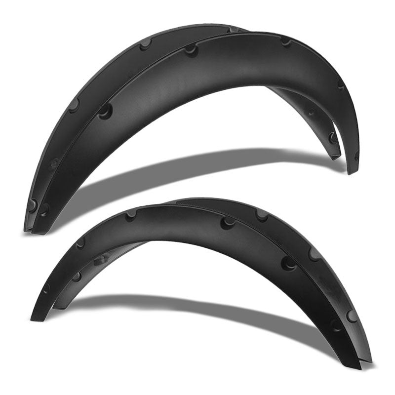 "Black Pocket-Riveted Race Wheel Fender Flare Guard For Universal RWD 12.5""F/14""R-Exterior-BuildFastCar"