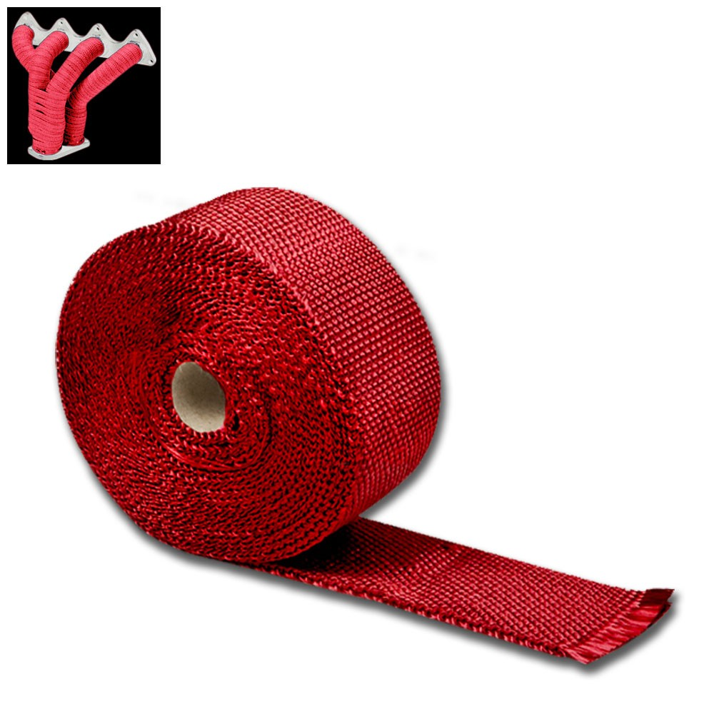 "Red 2""x 1/16x 10M/404"" T1 Exhaust Header Turbo Manifold Downpipe Heat Wrap"