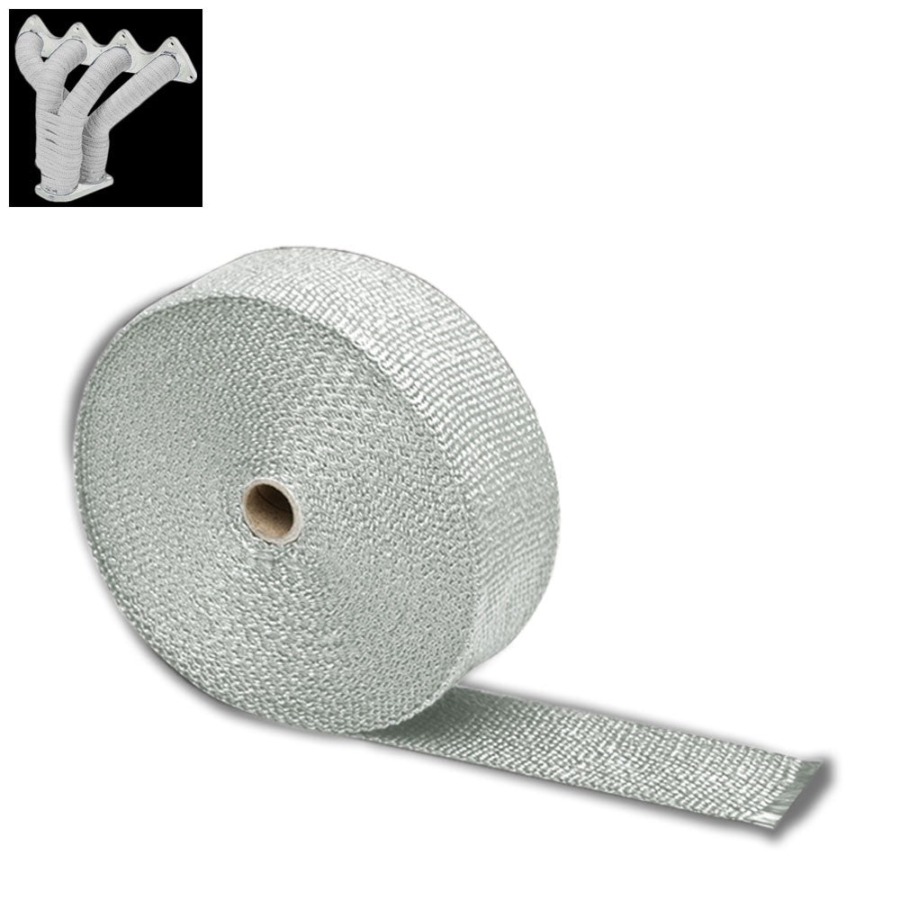"White 2""x 1/16x 10M/404"" T1 Exhaust Header Turbo Manifold Down Piping Heat Wrap"