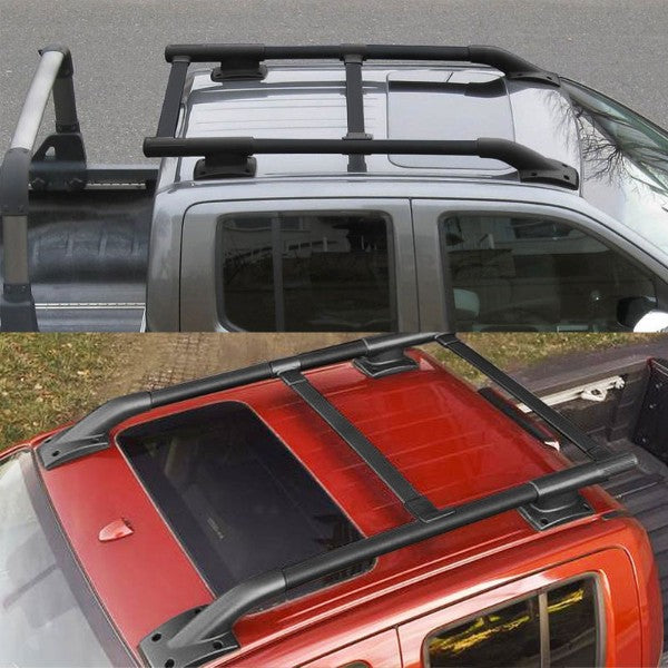 Black Aluminum Roof Rack Top Crossbar Utility Cargo Bar Rail For 05-17 Frontier-Exterior-BuildFastCar