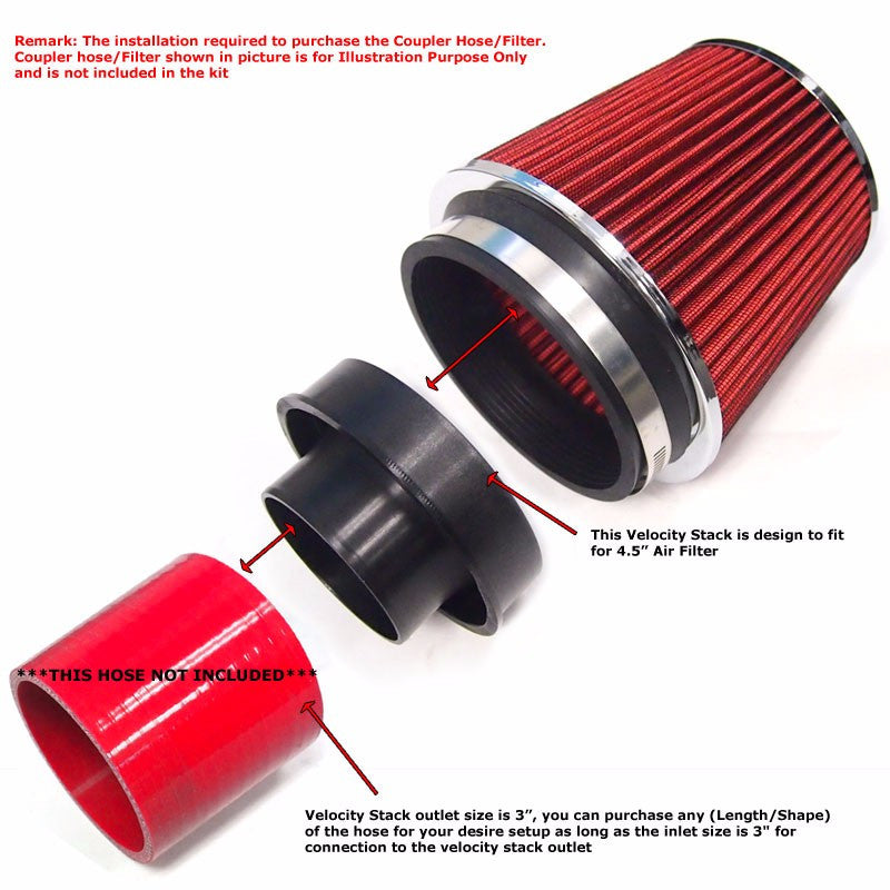 RED  UNIVERSAL PERFORMANCE FREE FLOW AIR FILTER /& ADAPTERS Seat