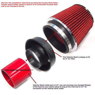 "Universal Air Compressor 3.5"" Outlet Velocity Stack Flow For 6"" Inlet Air Filter-Performance-BuildFastCar"