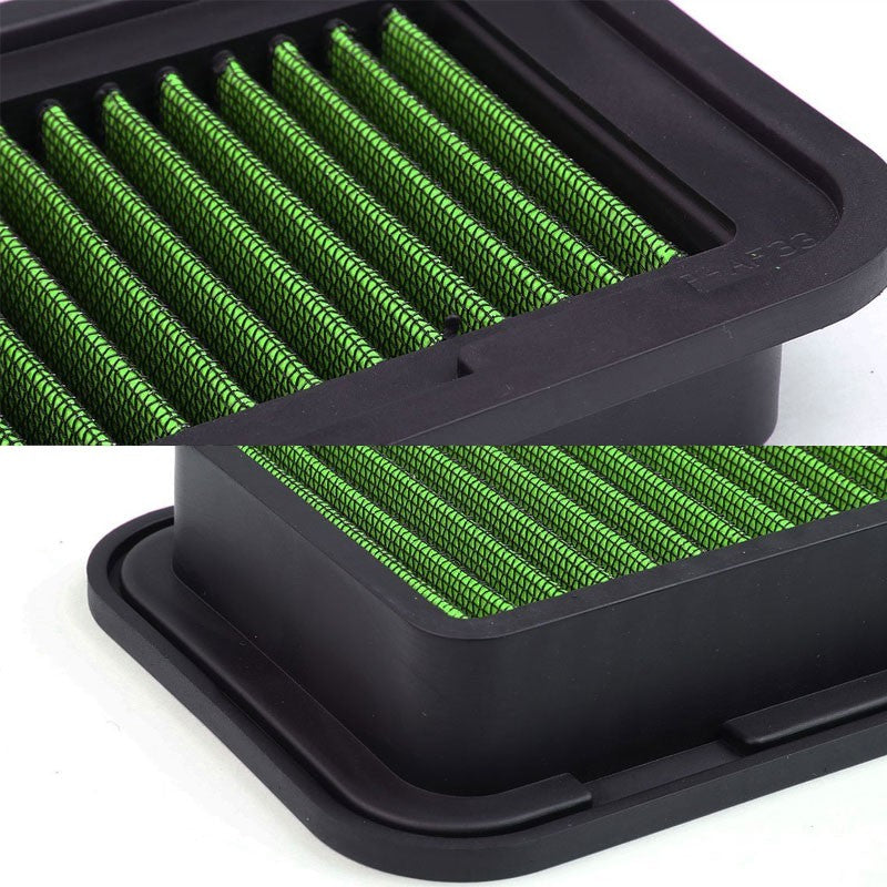 Green High Flow Washable/Reuse Drop-In Panel Air Filter For 00-05 Toyota Echo-Performance-BuildFastCar
