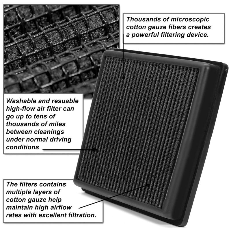 Black High Flow Washable/Reuse Drop-In Panel Air Filter For 93-98 Grand Cherokee-Performance-BuildFastCar