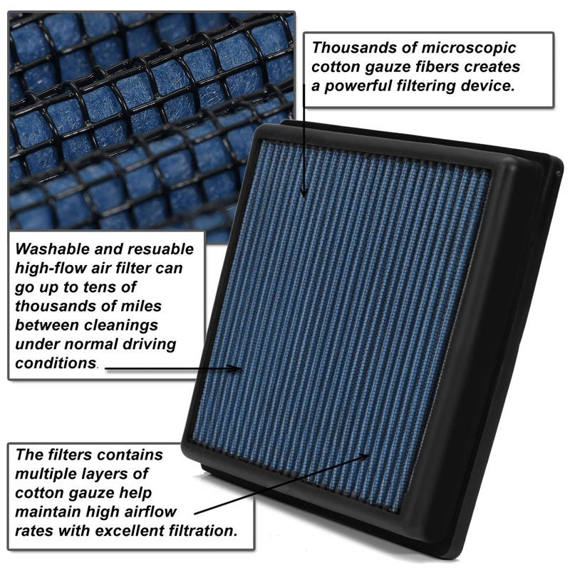 Blue High Flow Washable/Reuse Drop-In Panel Air Filter For 10-14 BMW X6 M 4.4L-Performance-BuildFastCar