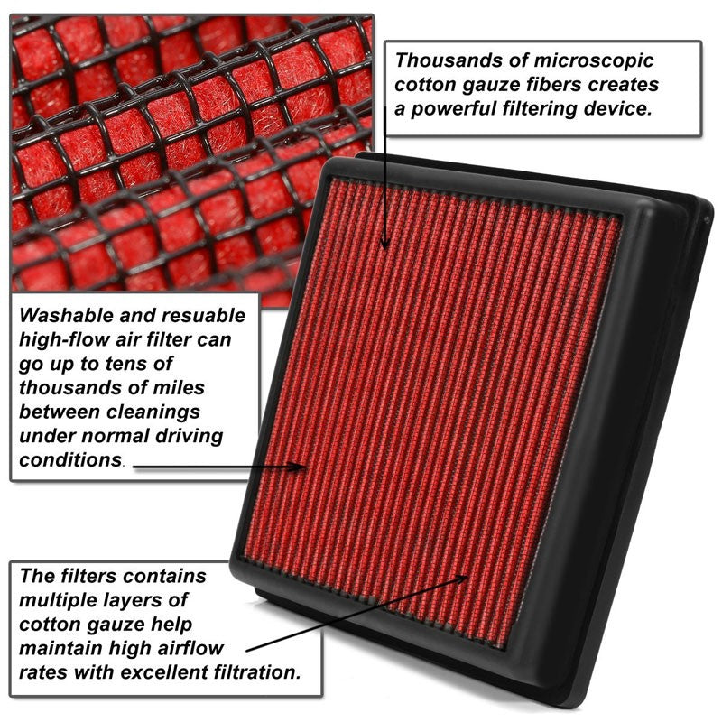 Red High Flow Cotton Washable Airbox Drop-In Panel Air Filter For 04-17 Quest-Performance-BuildFastCar