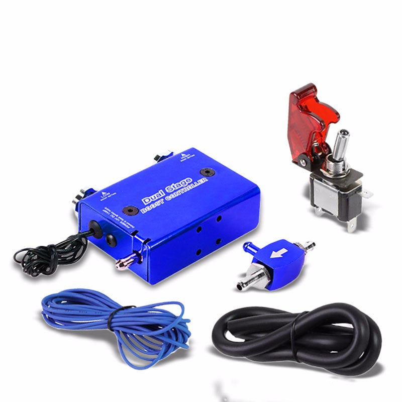 Blue Dual Stage Electronic Adjustable Pressure 1-30 PSI Turbo Charger Boost Control+Rocket Switch-Performance-BuildFastCar