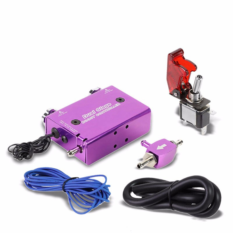 Purple Dual Stage Electronic Adjustable Pressure 1-30 PSI Turbo Charger Boost Control+Rocket Switch-Performance-BuildFastCar