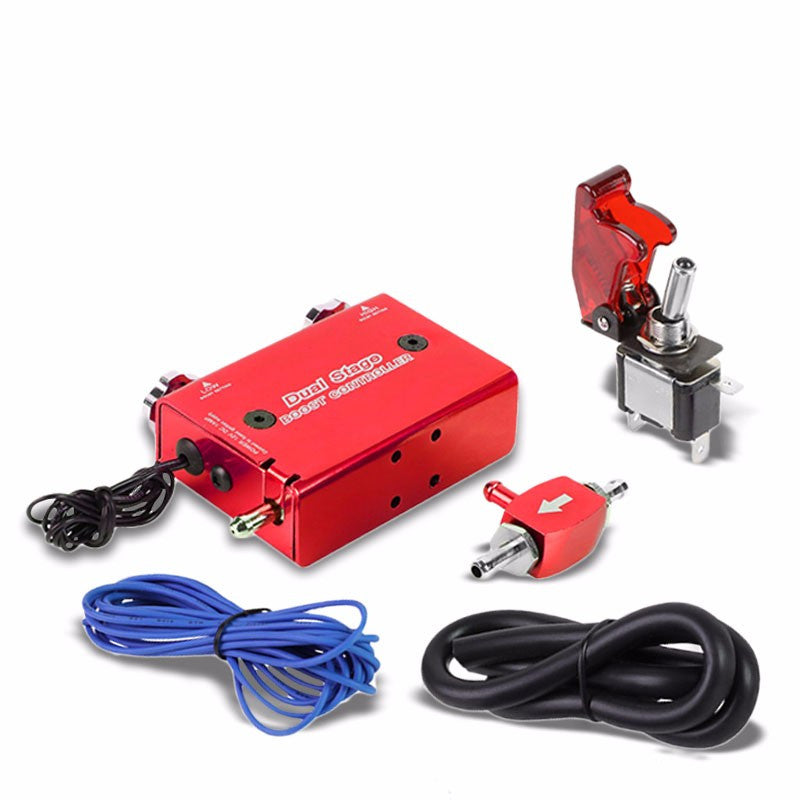 Red Dual Stage Electronic Adjustable Pressure 1-30 PSI Turbo Charger Boost Control+Rocket Switch-Performance-BuildFastCar