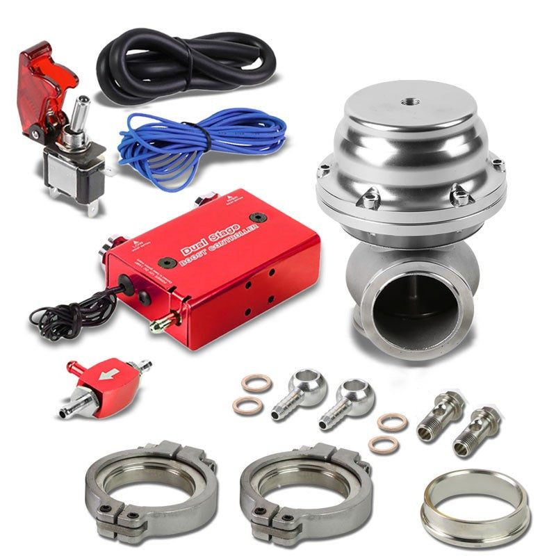 Red Dual Stage Adjustable 1-30 PSI Turbo Boost Control+Silver 44mm 14 PSI V-Band Turbo Wastegate Kit-Performance-BuildFastCar