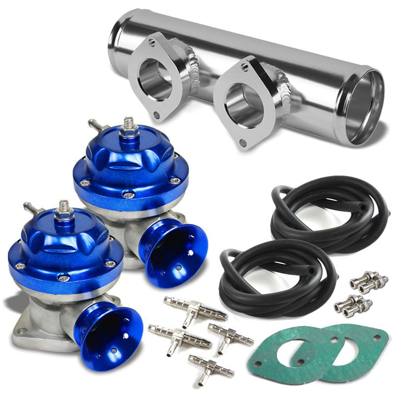 Blue TypeRS 30PSI Turbo Blow Off Valve BOV+Silver Straight Dual Port Flange Pipe-Performance-BuildFastCar
