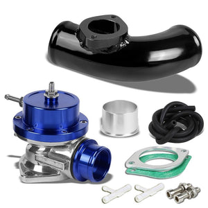 "Type-S Turbo 30PSI Blow Off Valve BOV BL+Black 2.5"" Flange Adapter Curve Pipe-Performance-BuildFastCar"
