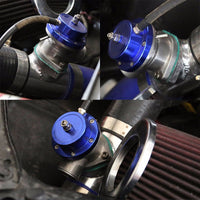 "Type-S Turbo 30PSI Blow Off Valve BOV BL+Silver 2.5"" Flange Adapter Curve Pipe-Performance-BuildFastCar"