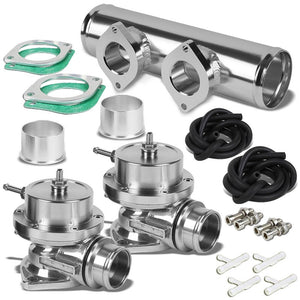 "Type-S/RS/RZ 30 PSI Turbo Blow Off Valve BOV+9""L Flange Dual Port Pipe Silver-Performance-BuildFastCar"