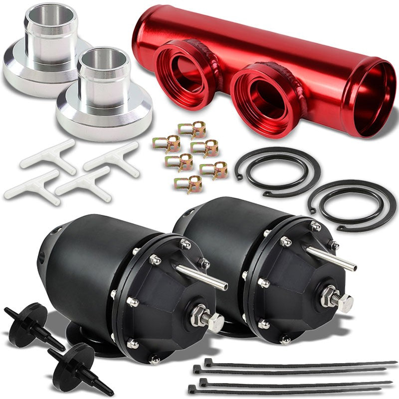 Black Aluminum SSQV/SQV Blow Off Valve TYA2+Red Straight Port BOV Flange Pipe-Performance-BuildFastCar