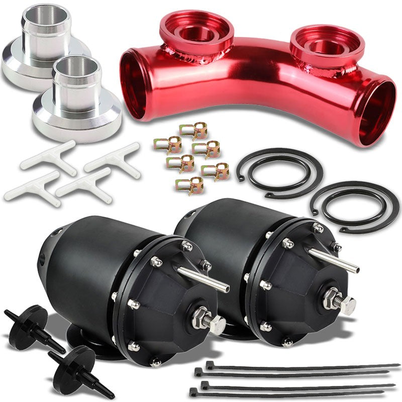 "Black Aluminum SSQV/SQV Blow Off Valve TYA2+Red 8"" 70 Angle Port BOV Flange Pipe-Performance-BuildFastCar"