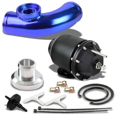 "Black SSQV Adjust PSI Turbo Blow Off Valve TYA2+Blue 8"" Curve BOV Flange Pipe-Performance-BuildFastCar"