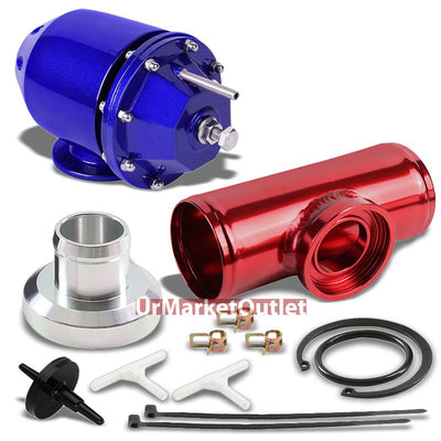 "Blue SQV Turbocharger Blow Off Valve BOV TYA2+Red 6"" Long Straight Flange Pipe-Performance-BuildFastCar"