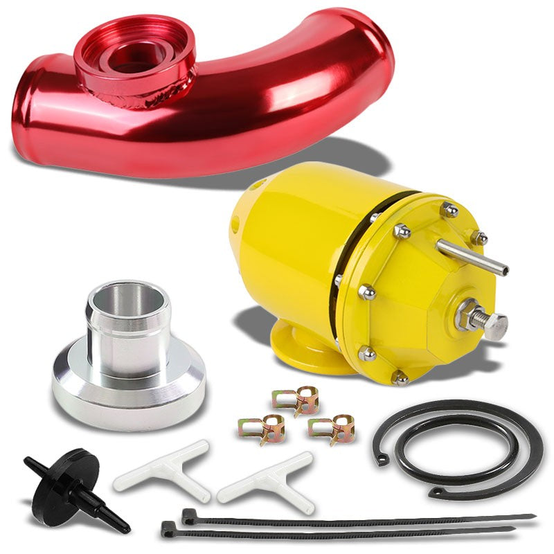 "Gold SSQV Adjust PSI Turbo Blow Off Valve TYA2+Red 8"" Curve BOV Flange Pipe-Performance-BuildFastCar"