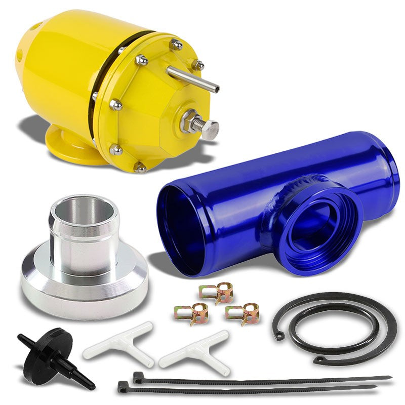 Gold SQV/SSQV Adjustable 30 PSI Blow Off Valve TYA2+Blue BOV Adapter Flange Pipe-Performance-BuildFastCar