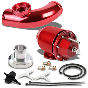 Red Aluminum SSQV/SQV Blow Off Valve TYA2+Red 80 Degree Curve BOV Flange Pipe-Performance-BuildFastCar
