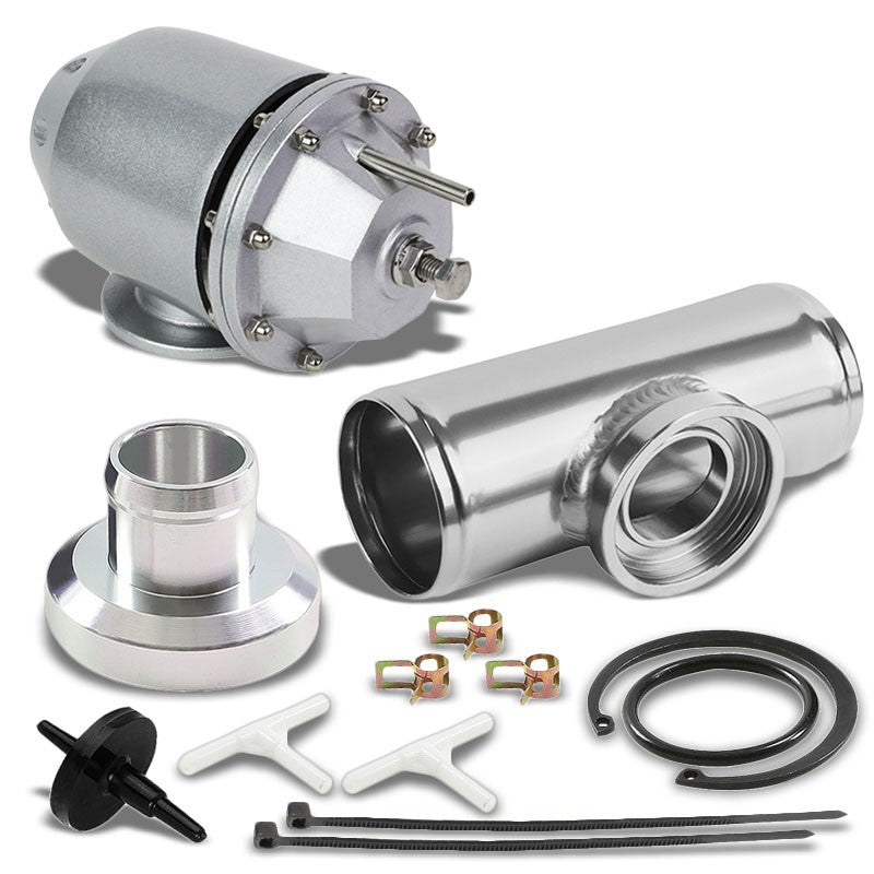 Silver SQV/SSQV Adjustable 30 PSI Blow Off Valve BOV A2+BOV Adapter Flange Pipe-Performance-BuildFastCar