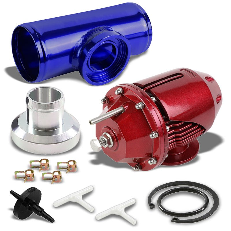Red PSI SSQV Blow Off Valve BOV+Blue Flange Pipe For Turbocharger/Intercooler-Performance-BuildFastCar