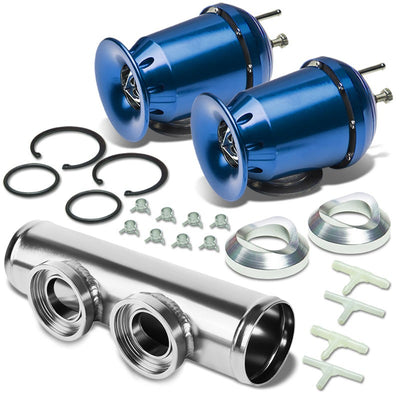 "Blue SSQV Aluminum 30PSI Blow Off Valve BOV+Silver 9.5""L/2.5""OD Dual Port Pipe-Performance-BuildFastCar"