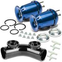 "Blue SSQV Turbo Boost Blow Off Valve BOV TY3+Black 8""L/2.5""OD Dual Port Pipe-Performance-BuildFastCar"