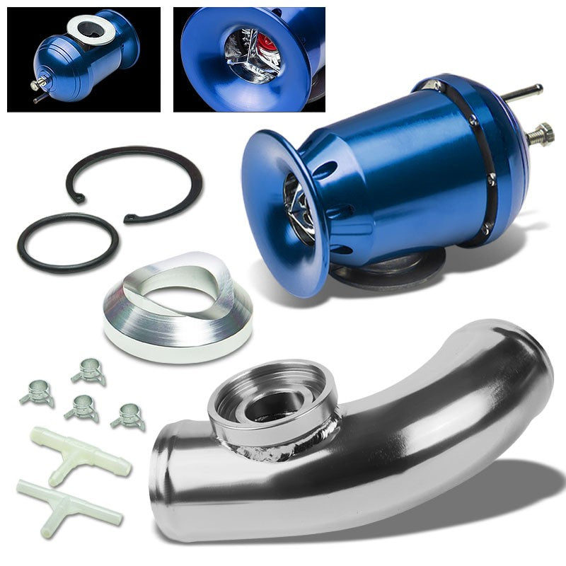"Blue SSQV/SQV Turbo AdjustBlow Off Valve BOV+Silver 8""L/80D Flange Adapter Pipe-Performance-BuildFastCar"