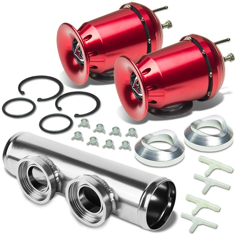 "Red SSQV Aluminum 30PSI Blow Off Valve BOV+Silver 9.5""L/2.5""OD Dual Port Pipe-Performance-BuildFastCar"