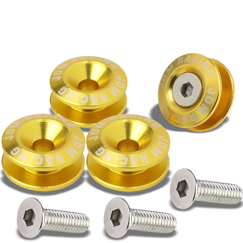 4Pcs Gold Rivet Quick Release Fasteners Bolt for Bumper/Fender/Hatch/Lip/Trunk-Exterior-BuildFastCar