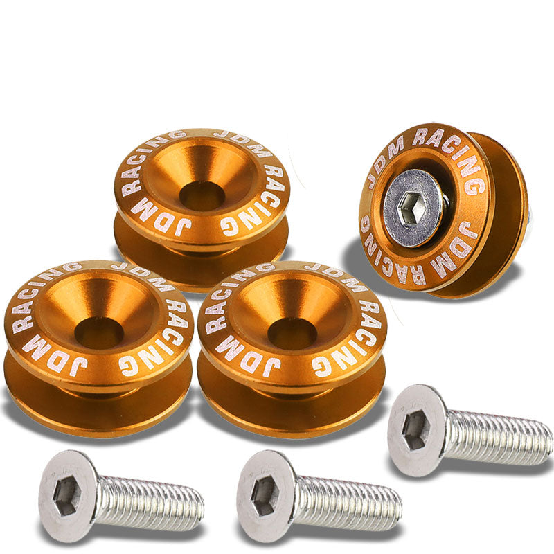 4Pcs Orange Rivet Quick Release Fasteners Bolt for Bumper/Fender/Hatch/Lip/Trunk-Exterior-BuildFastCar