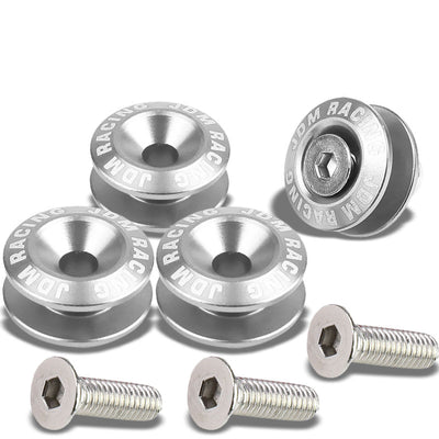 4Pcs Silver Rivet Quick Release Fasteners Bolt for Bumper/Fender/Hatch/Lip/Trunk-Exterior-BuildFastCar