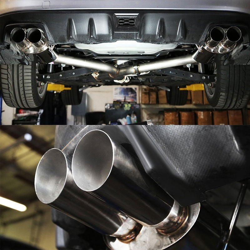 "3"" Quad Slant Muffler Tip Exhaust Catback System For 15-17 Subaru WRX 2.0L H4-Performance-BuildFastCar"